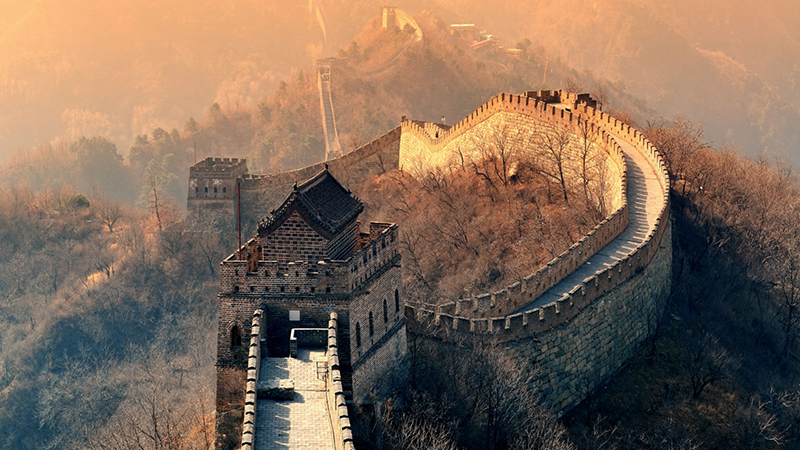 Aerial view of great wall of China in Beijing