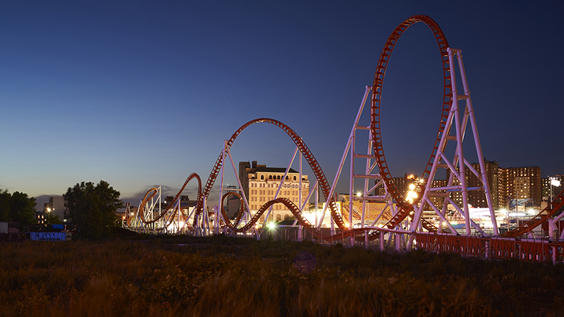 Rollercoaster at night time in amusement park in Brookyln