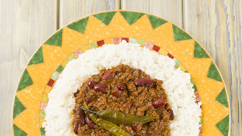 Tex-mex dish of rice chile and green peppers in Dallas