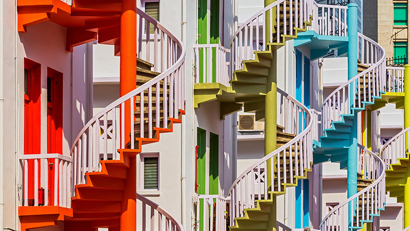 Colorful stairwells along buildings in Singapore