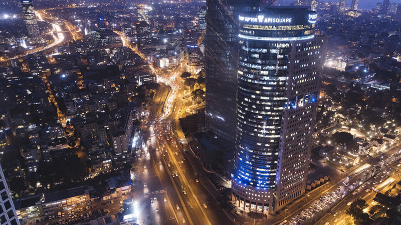 Aerial view of telaviv city center at night time